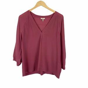Josie Rose pink silk v neck blouse